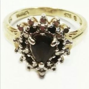 Macys 18kt Gold over Silver Ring Genuine Stone 7